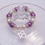 18th Birthday Wine Glass Charm - Full Sparkle Style